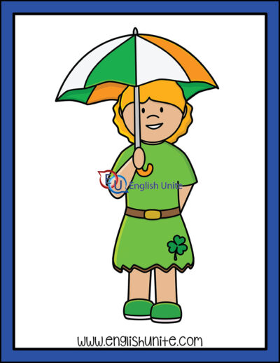 clip art - girl with umbrella