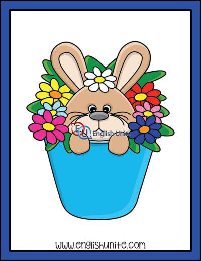 clip art - bunny in flower pot