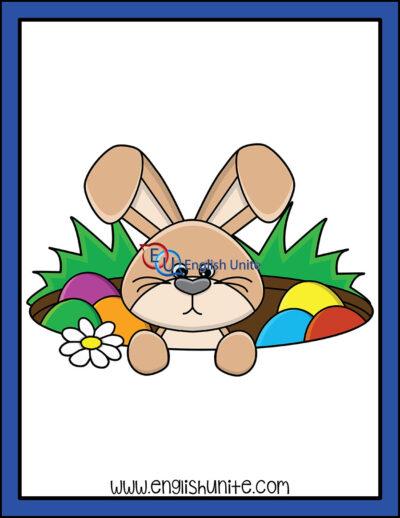 clip art - bunny in hole