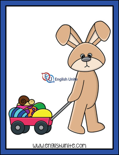 clip art - bunny with cart