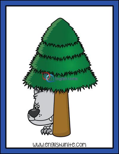 clip art - wolf behind tree