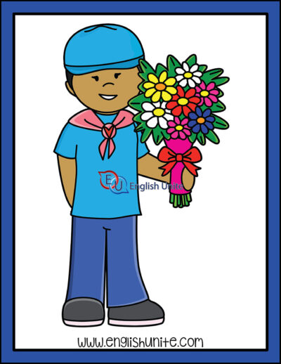clip art - boy with flowers