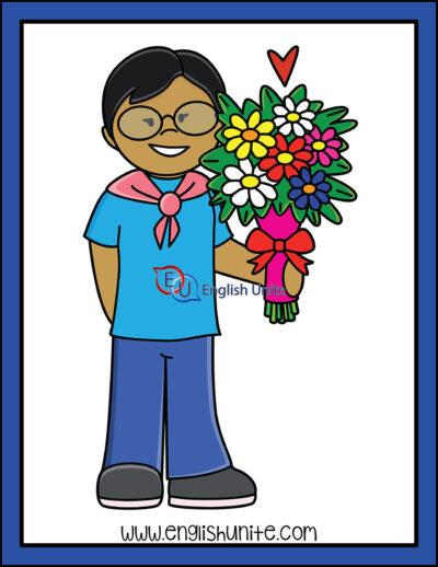 clip art - boy holding flowers