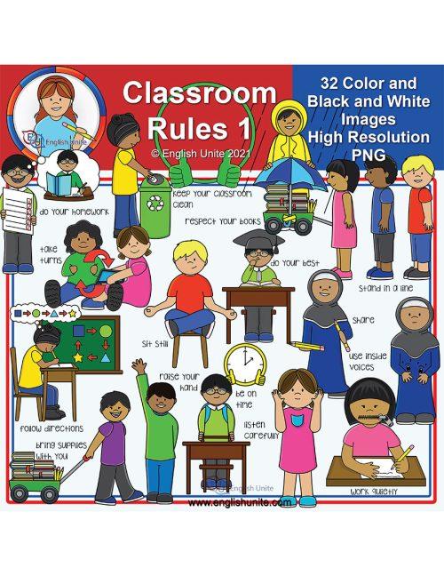 clip art - classroom rules pack 1